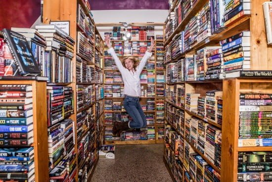 Krista Soukup Jumping in Book Store